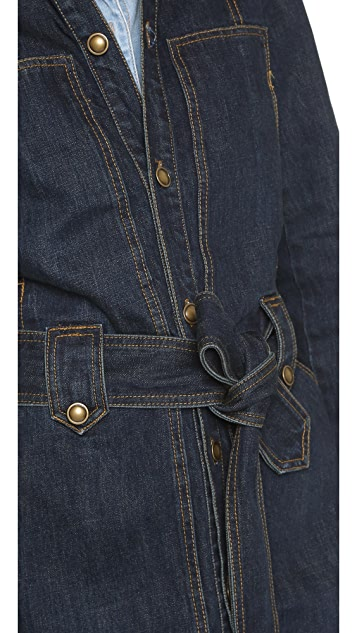Free People Denim Belted Trench