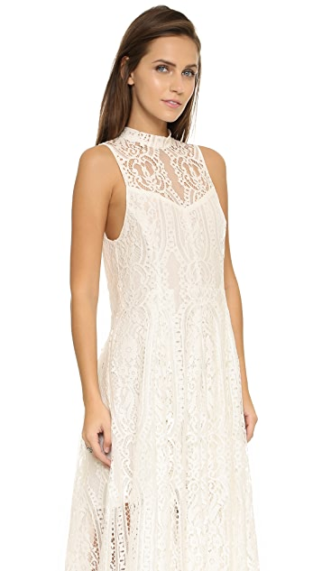 Free People Angel Rays Lace Trapeze Midi Dress