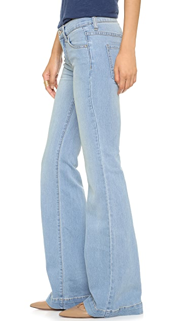 Free People Clean Mid Rise Flare Trousers
