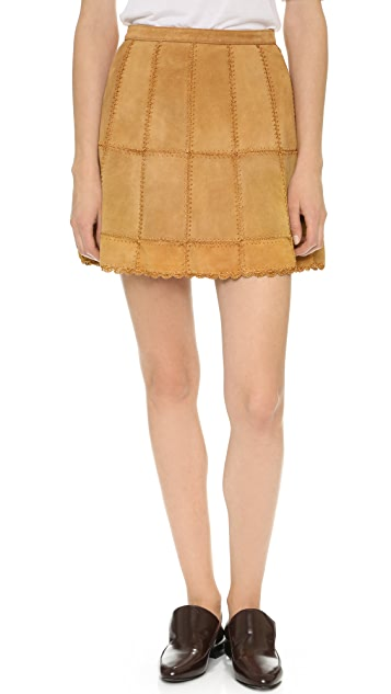Free People Piece Out Suede Skirt