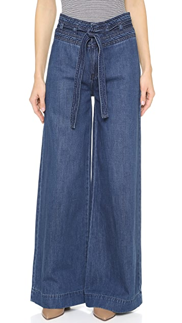 Free People Augusta Clean Belted Flare Jeans