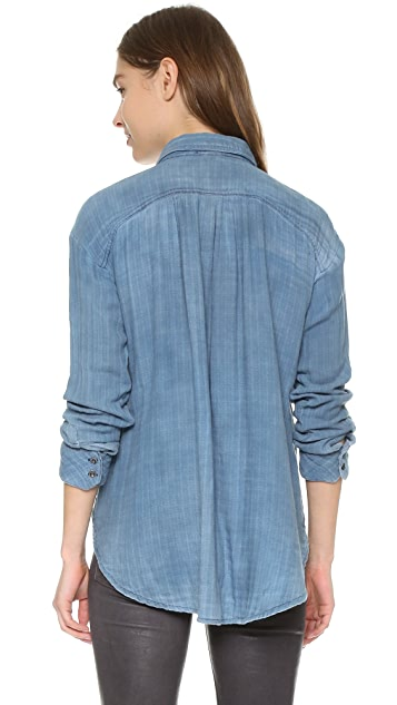 Free People Double Dip Button Down Top