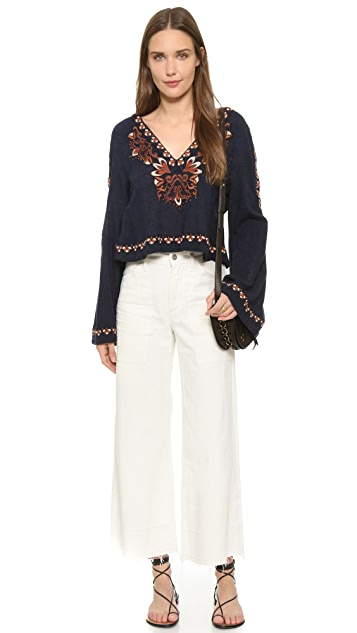Free People High Times Embroidered Top