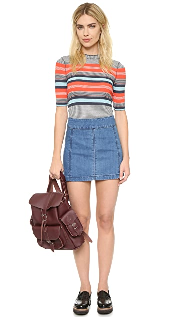 Free People Zip to It Denim Miniskirt