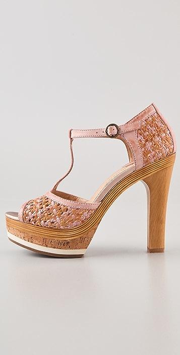 Frye Kara Woven T Strap Sandals