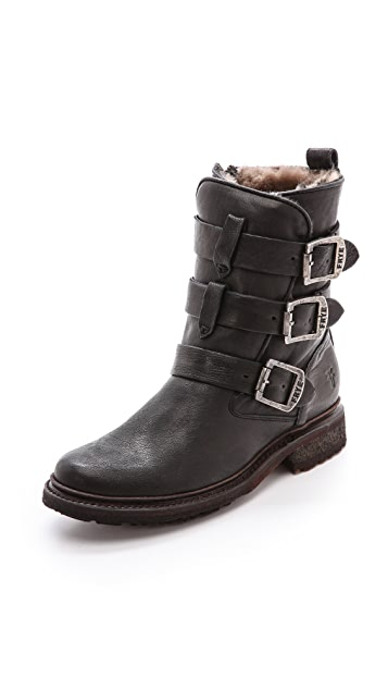 Frye Valerie Shearling Strappy Boots