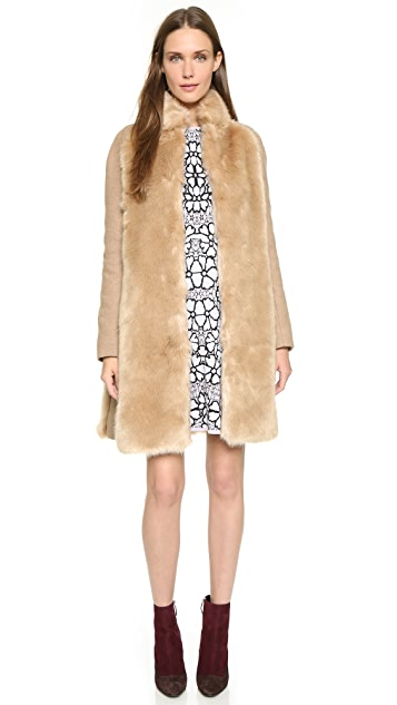 Giamba Faux Fur Panel Coat