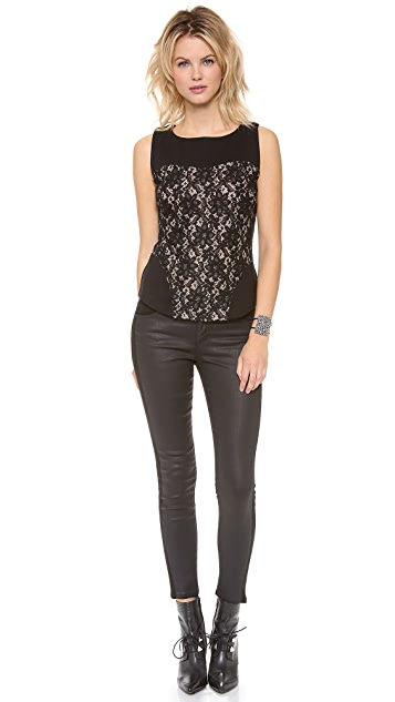 Graham & Spencer Ponti Sleeveless Top with Lace Detail