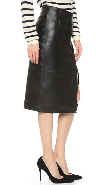 Ganni Moss Leather Skirt