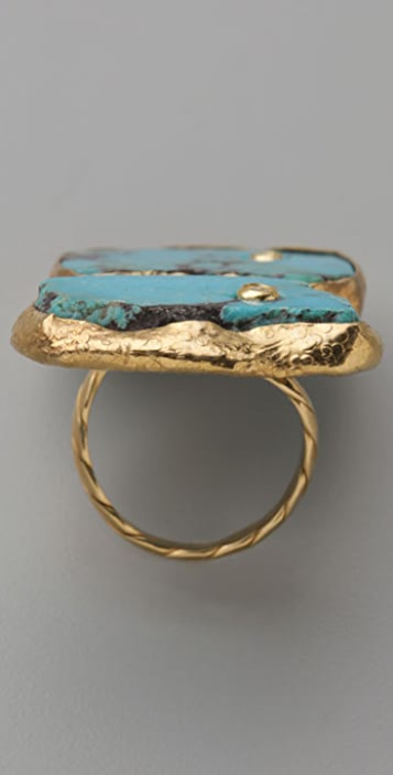 Gara Danielle Double Stone Turquoise Ring