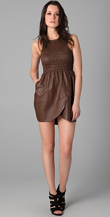 Geren Ford Ruched Leather Dress