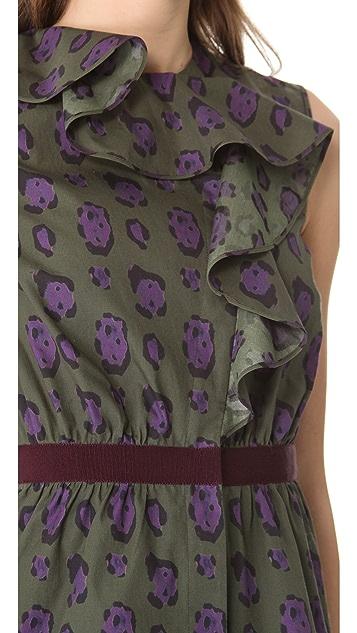 Giambattista Valli Leopard Print Ruffle Top