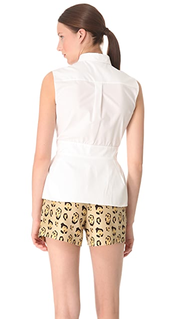 Giambattista Valli Sleeveless Eyelet Front Top