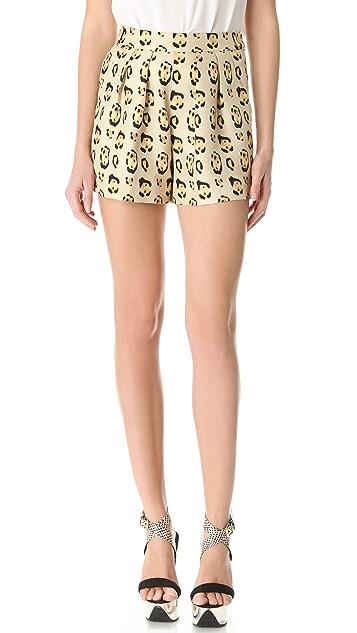 Giambattista Valli Leopard Pleated Shorts