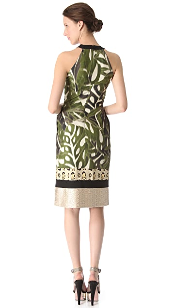 Giambattista Valli Sleeveless Leaf Leopard Dress