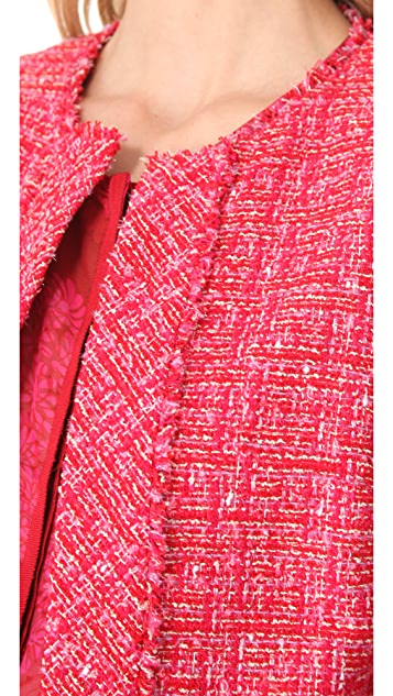 Giambattista Valli Red Tweed Cardigan Jacket