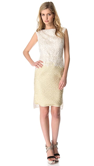 Giambattista Valli Lace to Gold Dress
