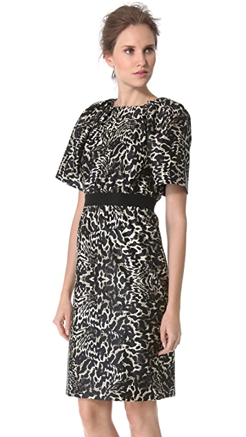 Giambattista Valli Short Sleeve Leopard Dress