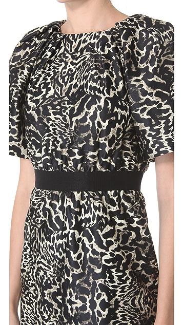 Giambattista Valli Short Sleeve Leopard Dress