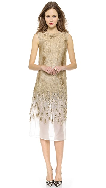 Giambattista Valli Wheat Braid Sleeveless Dress