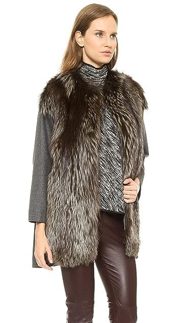 Giambattista Valli Woolen Coat with Fox Fur