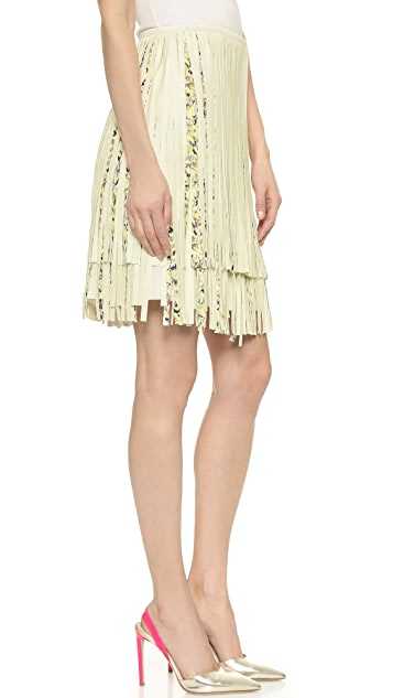Giambattista Valli Fringed Leather Skirt