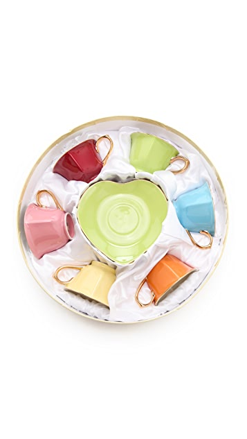 Gift Boutique Classic Coffee & Tea Heart Cup & Saucer Set