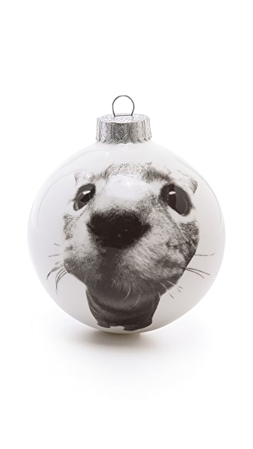 Gift Boutique Reiko Kaneko Silver Face Cat Christmas Bauble Ornament