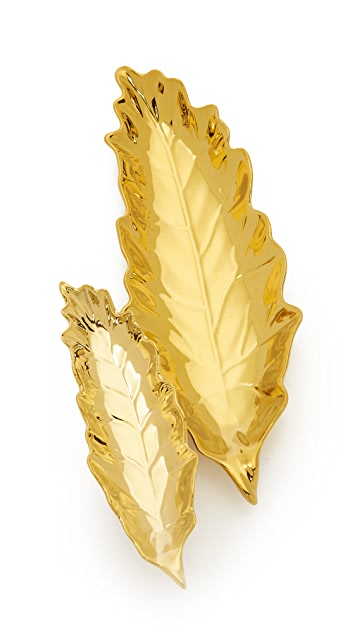 Gift Boutique Gold Leaves Tray Set