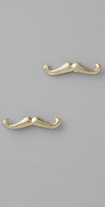 Giles & Brother Tiny Moustache Stud Earrings