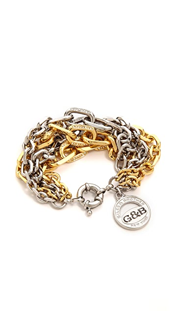 Giles & Brother Two Tone Crystal Encrusted Link Bracelet