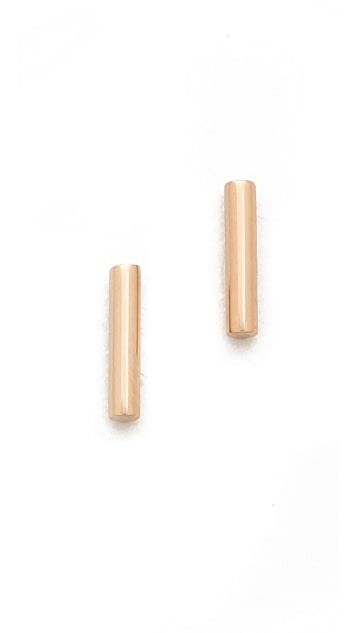ginette_ny Rose Gold Strip Stud Earrings