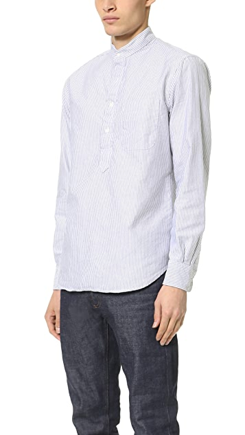 Gitman Vintage Band Collar Striped Oxford Popover