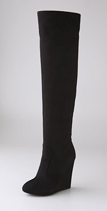 fd610f999bc Giuseppe Zanotti Suede Over the Knee Wedge Boots ...