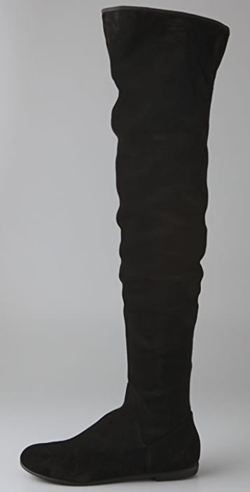 Giuseppe Zanotti Thigh High Flat Suede Boots with Flex Sole