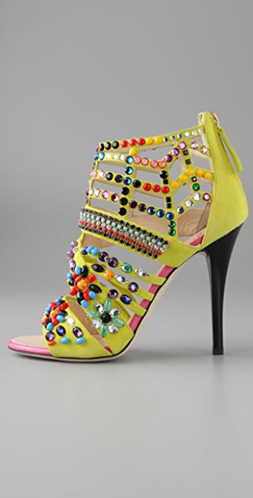 Giuseppe Zanotti Strass Suede Caged Sandals