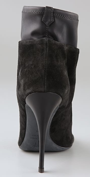 Giuseppe Zanotti Open Toe Suede Booties with Leather Sock
