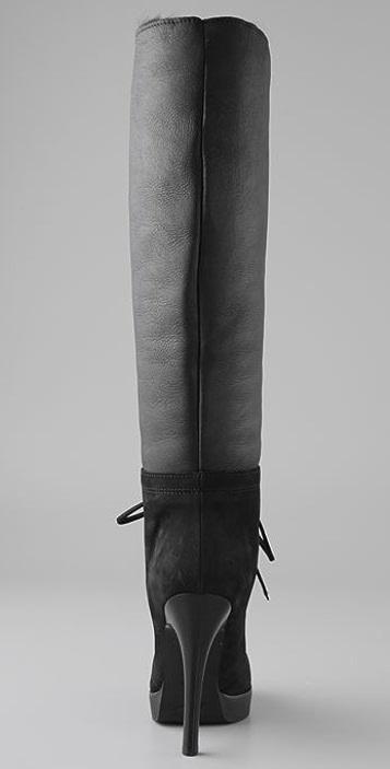 Giuseppe Zanotti Lace Up Shearling Boots