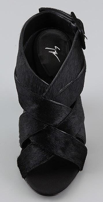 Giuseppe Zanotti Crisscross Haircalf Sandals