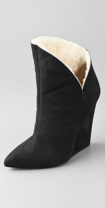 Giuseppe Zanotti Dip Side Wedge Booties with Shearling Lining