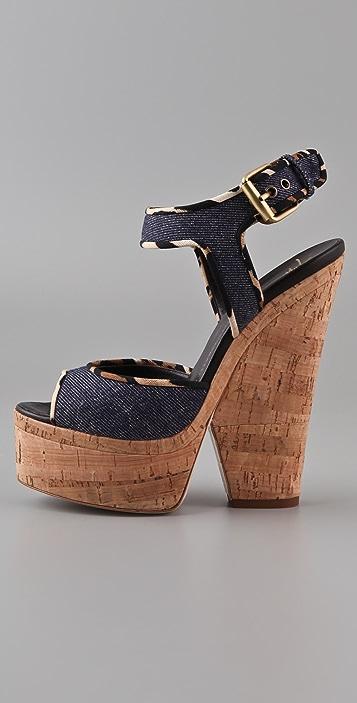 Giuseppe Zanotti Cork Cutout Wedge Sandals