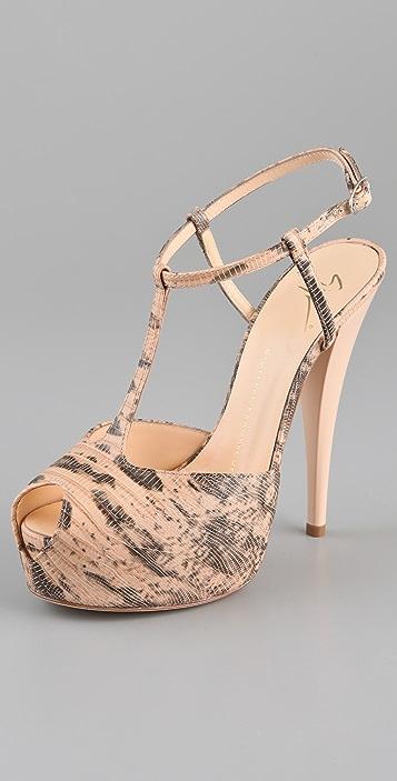 Giuseppe Zanotti Faux Lizard T Strap Sandals