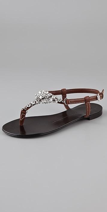 Giuseppe Zanotti T Strap Jeweled Sandals