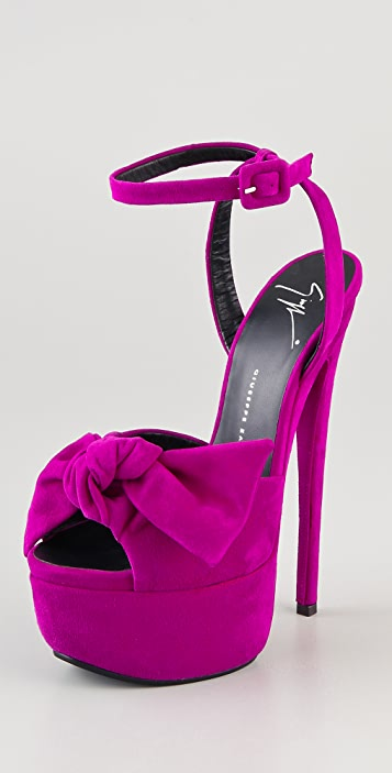 14256843bd8 Giuseppe Zanotti Bow Suede Platform Sandals ...