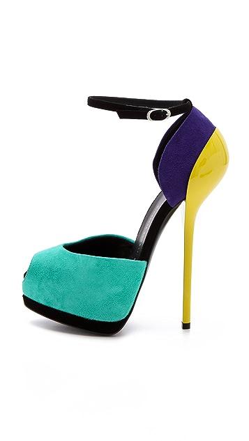 Giuseppe Zanotti Colorblock Suede Sandals