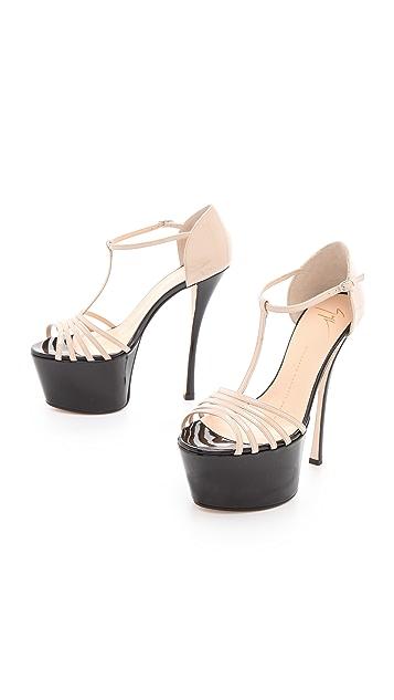 Giuseppe Zanotti T Strap Platform Heels