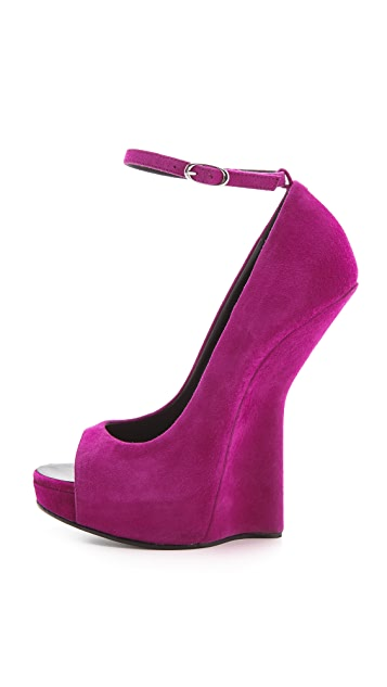 Giuseppe Zanotti Peep Toe Wedge Heels