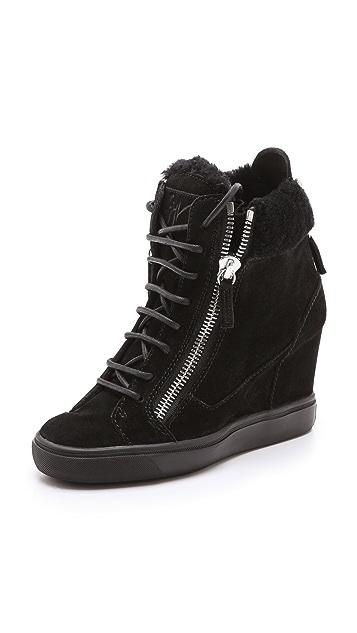 Giuseppe Zanotti Suede Double Zipper Wedged Sneakers