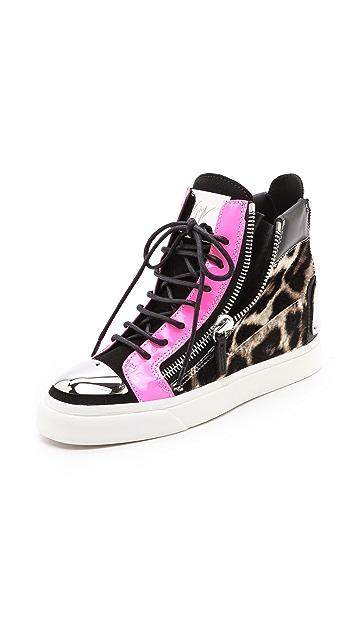 Giuseppe Zanotti Double Zipper Leopard Sneakers