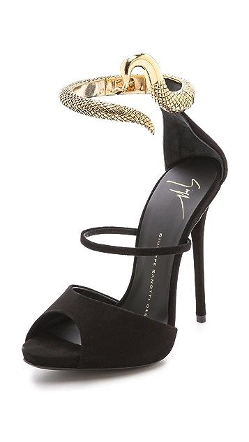 Giuseppe Zanotti Ankle Strap Snake Heels Shopbop